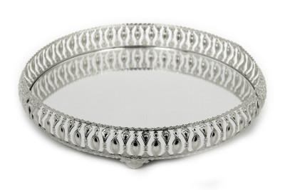 Diğer - Meltem Aynalı Yuvarlak Jardinyer Tepsi Gümüş 35cm