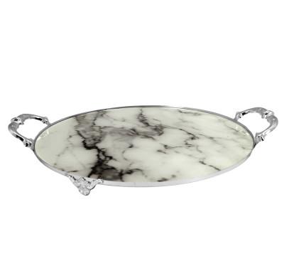 Diğer - Metal Kulplu Beyaz Mermer Tasarımlı Tepsi Gümüş 30cm