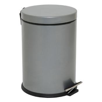 Metal Pedallı 5 Lt Çöp Kovası Gri