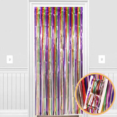 Diğer - Metalik Folyo Kapı ve Duvar Süsleme Perdesi Karışık Renkli