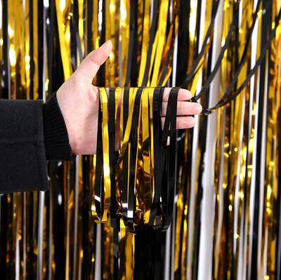 Diğer - Metalik Folyo Kapı ve Duvar Süsleme Perdesi Siyah Gold
