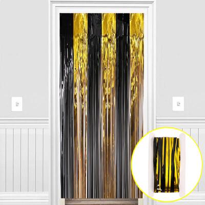 Metalik Folyo Kapı ve Duvar Süsleme Perdesi Siyah Gold - Thumbnail