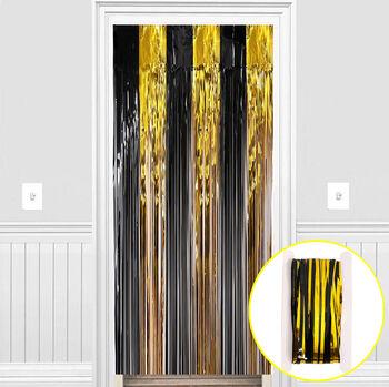 Metalik Folyo Kapı ve Duvar Süsleme Perdesi Siyah Gold