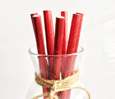 Diğer - Metalik Kağıt Pipet Kırmızı 24 Adet