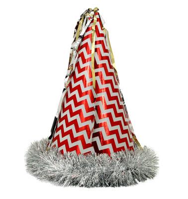 Diğer - Metalize Katyon Büyük Boy Karton Parti Şapkası Kırmızı