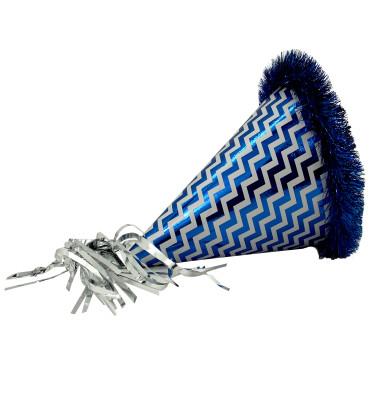 Metalize Katyon Büyük Boy Karton Parti Şapkası Mavi - Thumbnail