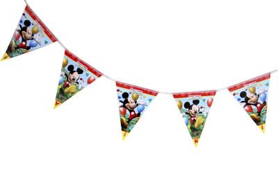 Mickey Mouse Baskılı İyiki Doğdun Yazılı Parti Flama Bayrak - Thumbnail