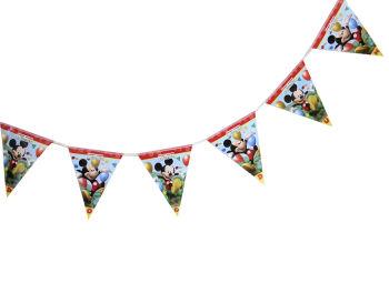 Mickey Mouse Baskılı İyiki Doğdun Yazılı Parti Flama Bayrak