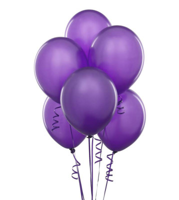 Diğer - Mor Renkli Metalik Süsleme ve Parti Balonu 20li