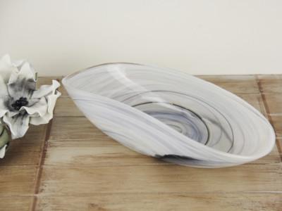 Diğer - Murano Dumanlı Dekoratif Cam Kayık Tabak 34cm Gri
