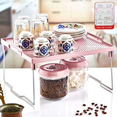 Mutfak Dolabı ve Tezgah Düzenleyici Üst Üste Dizilebilir Raf 28x30cm - Thumbnail