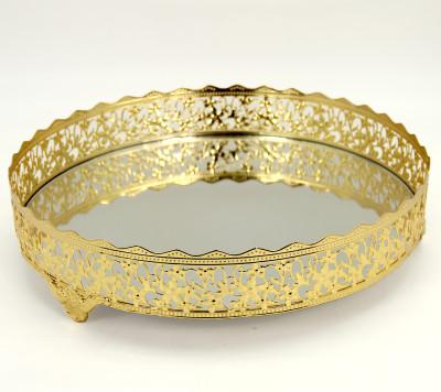 Diğer - Nergis Aynalı Yuvarlak Jardinyer Tepsi Gold 35cm