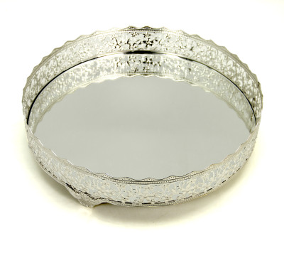 Diğer - Nergis Aynalı Yuvarlak Jardinyer Tepsi Gümüş 30cm