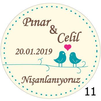 24lü Nikah Şekeri Etiketi Yuvarlak 4cm.