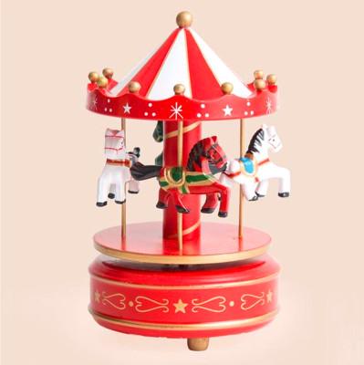 Diğer - Nostaljik Ahşap Atlı Karınca Müzik Kutusu Kırmızı