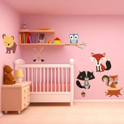 Diğer - Orman Hayvanları Parçalı Çocuk Odası Sticker 50cm