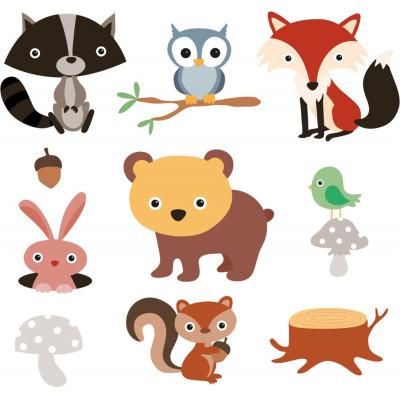 Orman Hayvanları Parçalı Çocuk Odası Sticker 50cm - Thumbnail