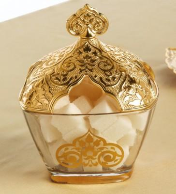 Diğer - Osmanlı Motifli Metal Kapaklı Cam Şekerlik Gold