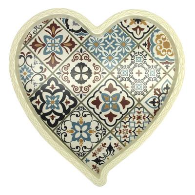 Diğer - Otantik Baskılı Kalp Şeklinde Melamin Tepsi Krem