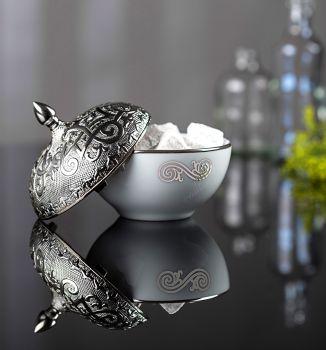 Otantik Tasarım Gümüş Kapaklı Porselen Şekerlik