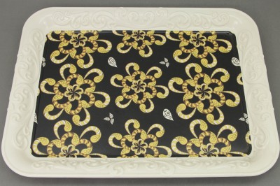 Külsan - Ottoman Tray Renkli Çiçek Dikdörtgen Melamin Tepsi Sarı