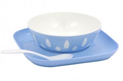 Diğer - Oval Desenli Mama Tabağı Altlığı ve Kaşığı Mavi