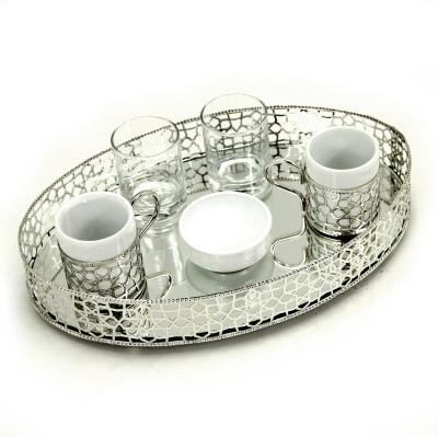 Oval Jardinyer Tepsili 2li Kahve Fincanı Seti Gümüş - Thumbnail