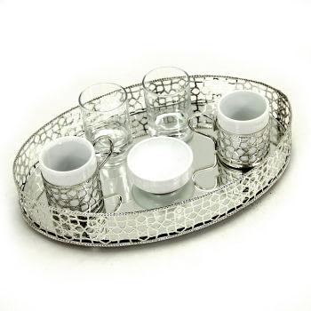Oval Jardinyer Tepsili 2li Kahve Fincanı Seti Gümüş