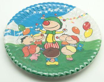 Palyaço ve Çocuk Desenli Karton Tabak 10 Adet