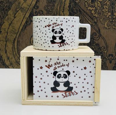 Diğer - Panda Tasarımlı Ahşap Kutulu Kupa Bardak