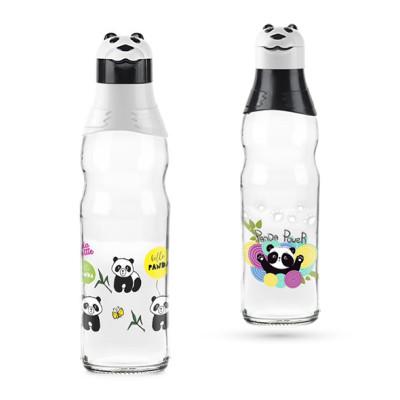 Titiz - Panda Tasarımlı Kapaklı Desenli Cam Suluk 1 Lt