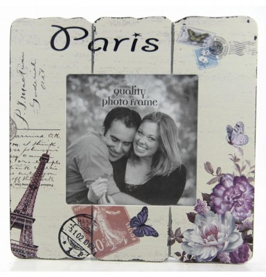 Decotown - Paris Yazılı Ahşap Fotoğraf Çerçevesi 20x23cm