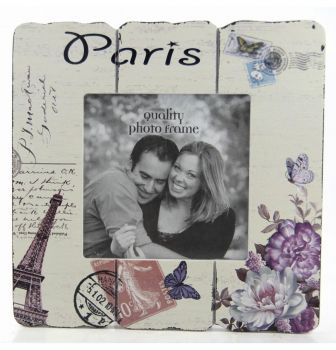 Paris Yazılı Ahşap Fotoğraf Çerçevesi 20x23cm