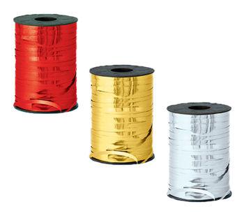 Parlak Metalik Şerit Rafya 8mmx200mt Gümüş