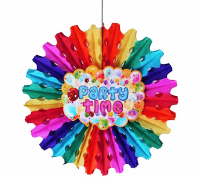 Diğer - Party Time Karışık Renkli Kağıt Yelpaze Asma Süs 50cm