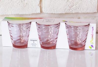 Paşabahçe - Paşabahçe 3lü Origami Meşrubat Bardağı Açık Pembe 245cc