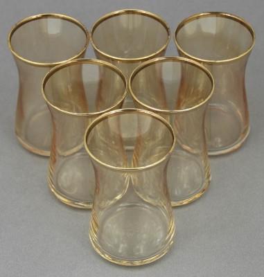 Paşabahçe - Paşabahçe 6lı Heybeli Altın Yaldızlı Çay Bardağı