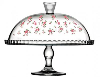 Paşabahçe - Paşabahçe Country Çiçek Desenli Ayaklı Cam Kapaklı Servis Tabağı