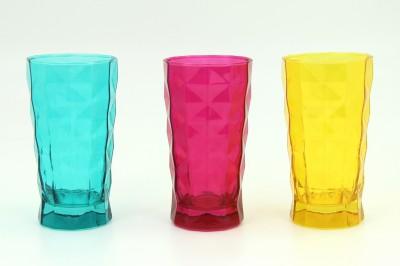 Diğer - Paşabahçe Prizma 3lü Renkli Büyük Boy Meşrubat Su Bardağı