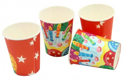 Pasta ve Balon Baskılı Karton Parti Bardağı 12 Adet - Thumbnail