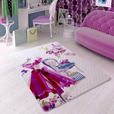 Diğer - Pembe Elbise Tasarımlı Kız Çocuk Odası Halısı Pembe 133x190cm