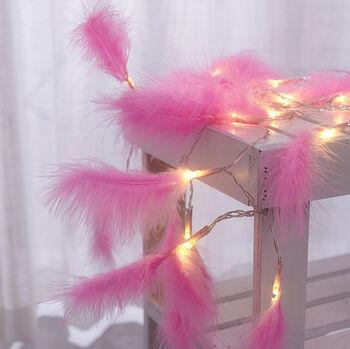 Pembe Kuş Tüyü Led Dekor Işığı 2 Metre