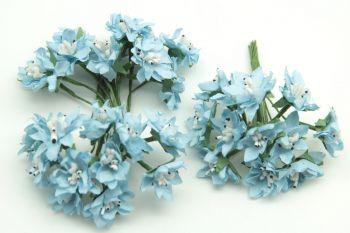 Pıtırcıklı Kağıt Çiçek Bebek ve Nikah Şekeri Süsü 144 Adet Mavi