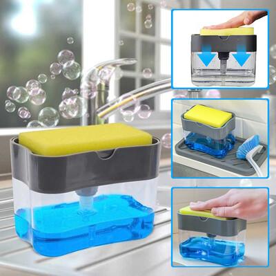 Diğer - Pompalı Sünger Hazneli Sıvı Sabunluk 385ml