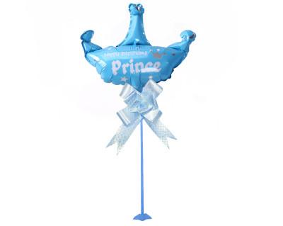 Diğer - Prens Taç Figürlü Parti Masa Süsü Çubuklu Folyo Balon Mavi