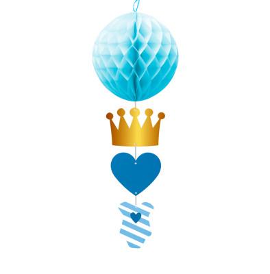 Diğer - Prens Taçlı Top Petek Bebek Parti Süsü Mavi