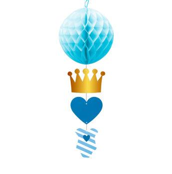 Prens Taçlı Top Petek Bebek Parti Süsü Mavi