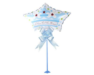 Diğer - Prens Yazılı Yıldız Parti Masa Süsü Çubuklu Folyo Balon Mavi