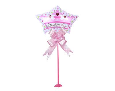 Diğer - Prenses Yazılı Yıldız Parti Masa Süsü Çubuklu Folyo Balon Pembe