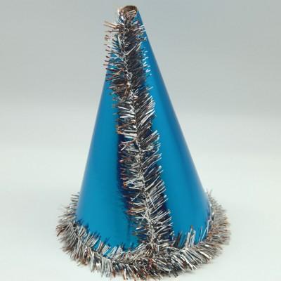 Diğer - Püsküllü Koni Şeklinde Parti Şapkası Mavi